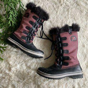 Sorel Tofino Nylon Chili Blk Pink Waterproof Boot
